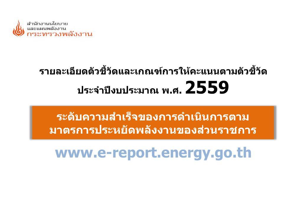 รายละเอียดเกณฑ์ที่รายละเอียดเกณฑ์ที่ [12] มาตรการประหยัดพลังงานของส่วนราชการ 11 เกณฑ์การให้คะแนนไฟฟ้าน้ำมัน มีการติดตามและรายงานผลการดำเนินการตามมาตรการประหยัด พลังงานของปีงบประมาณ 2559 0.5000 1.1รอบ 6 เดือน (ตุลาคม 2558 - มีนาคม 2559) และ0.2500 1.2รอบ 12 เดือน (เมษายน 2559 - กันยายน 2559)0.2500 คะแนนเต็มรวมไฟฟ้าและน้ำมัน = 1.000 คะแนน