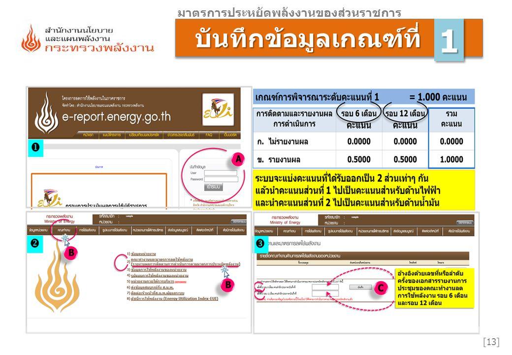บันทึกข้อมูลเกณฑ์ที่ บันทึกข้อมูลเกณฑ์ที่ [13] มาตรการประหยัดพลังงานของส่วนราชการ 11