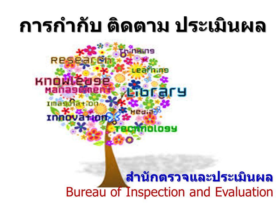 การกำกับ ติดตาม ประเมินผล สำนักตรวจและประเมินผล Bureau of Inspection and Evaluation