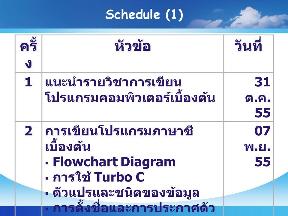 Schedule (1) ครั้ ง หัวข้อวันที่ 1 แนะนำรายวิชาการเขียน โปรแกรมคอมพิวเตอร์เบื้องต้น 31 ต.