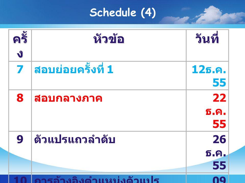 Schedule (4) ครั้ ง หัวข้อวันที่ 7 สอบย่อยครั้งที่ 112 ธ.