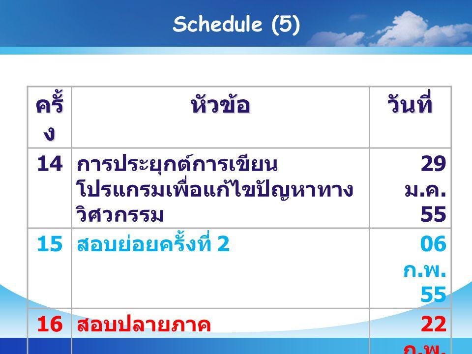 Schedule (5) ครั้ ง หัวข้อวันที่ 14 การประยุกต์การเขียน โปรแกรมเพื่อแก้ไขปัญหาทาง วิศวกรรม 29 ม.