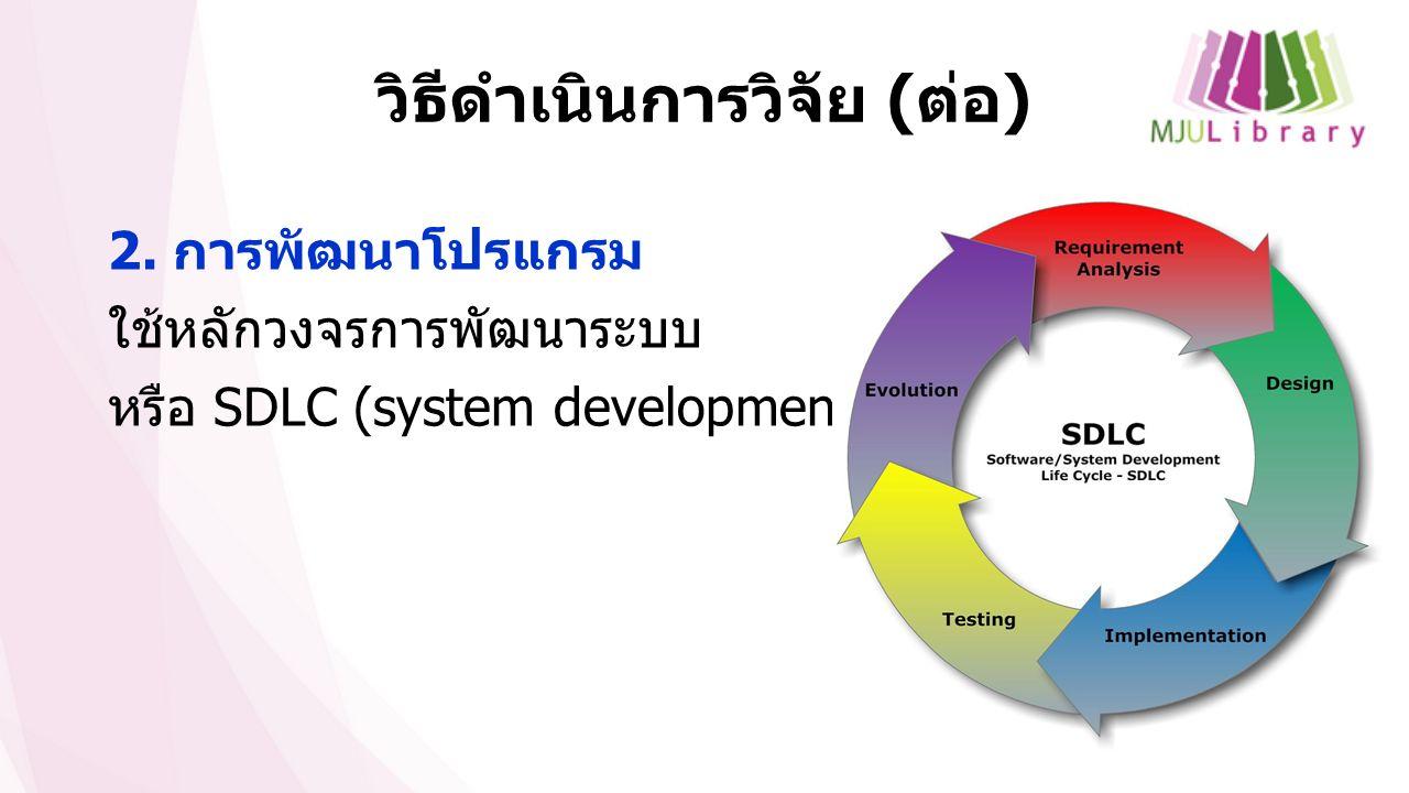 วิธีดำเนินการวิจัย ( ต่อ ) 2. การพัฒนาโปรแกรม ใช้หลักวงจรการพัฒนาระบบ หรือ SDLC (system development life cycle)