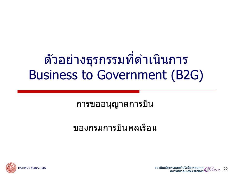 สถาบันนวัตกรรมเทคโนโลยีสารสนเทศ มหาวิทยาลัยเกษตรศาสตร์ กระทรวงคมนาคม ตัวอย่างธุรกรรมที่ดำเนินการ Business to Government (B2G) การขออนุญาตการบิน ของกรมการบินพลเรือน 22