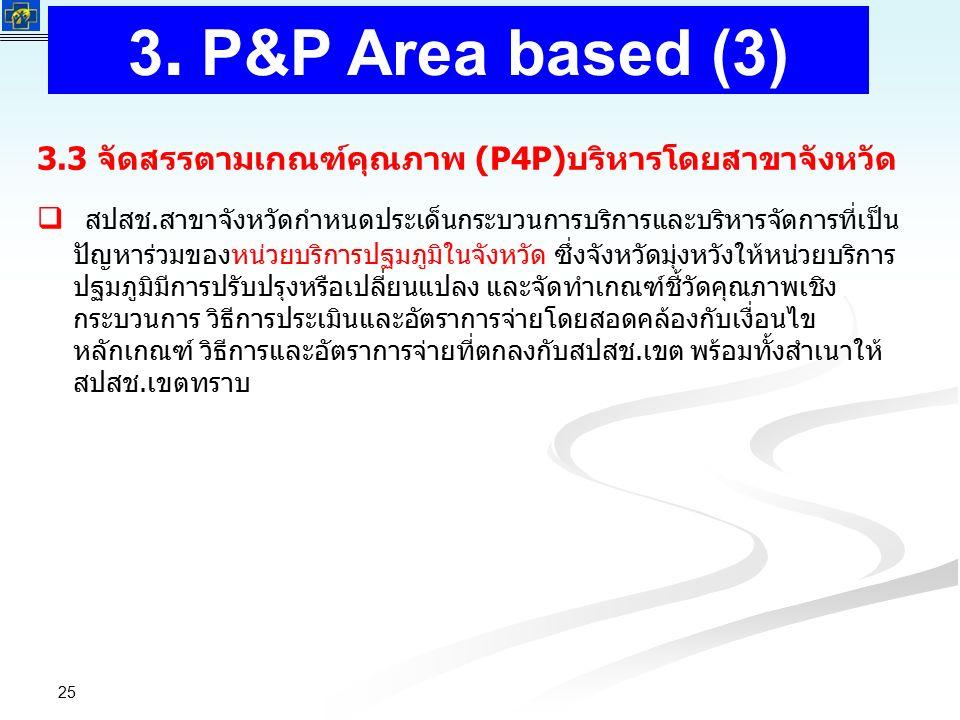 สำนักงานหลักประกันสุขภาพแห่งชาติ NATIONAL HEALTH SECURITY OFFICE สำนักงานหลักประกันสุขภาพแห่งชาติ NATIONAL HEALTH SECURITY OFFICE 25 3.3 จัดสรรตามเกณฑ์คุณภาพ (P4P)บริหารโดยสาขาจังหวัด   สปสช.สาขาจังหวัดกำหนดประเด็นกระบวนการบริการและบริหารจัดการที่เป็น ปัญหาร่วมของหน่วยบริการปฐมภูมิในจังหวัด ซึ่งจังหวัดมุ่งหวังให้หน่วยบริการ ปฐมภูมิมีการปรับปรุงหรือเปลี่ยนแปลง และจัดทำเกณฑ์ชี้วัดคุณภาพเชิง กระบวนการ วิธีการประเมินและอัตราการจ่ายโดยสอดคล้องกับเงื่อนไข หลักเกณฑ์ วิธีการและอัตราการจ่ายที่ตกลงกับสปสช.เขต พร้อมทั้งสำเนาให้ สปสช.เขตทราบ 3.