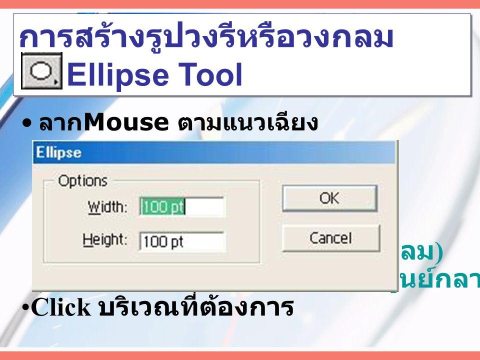การสร้างสี่เหลี่ยมมุมโค้ง Rounded Rectangle Tool ลาก Mouse ตามแนวเฉียง ( กด Shift + Click ลากสร้างสี่เหลี่ยมจัตุรัส ) ( กด Alt + Click ลากสร้างจากศูนย์กลาง ) Click บริเวณที่ต้องการ