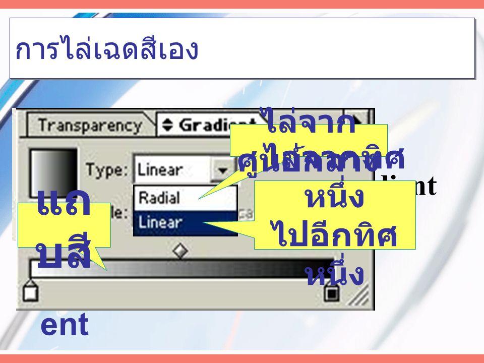 การไล่เฉดสีเอง Click เลือก Gradient จะเกิด Palette Gradient Gradi ent