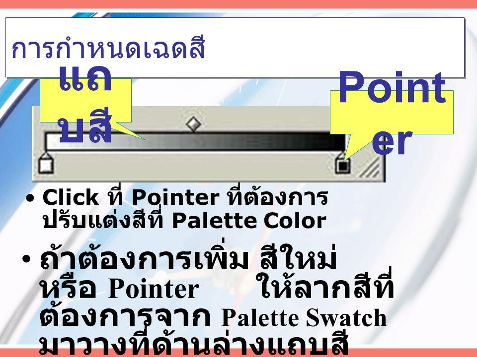 การไล่เฉดสีเอง Click วัตถุ Click เลือก Gradient จะเกิด Palette Gradient Gradi ent ไล่จาก ศูนย์กลาง ไล่จากทิศ หนึ่ง ไปอีกทิศ หนึ่ง แถ บสี