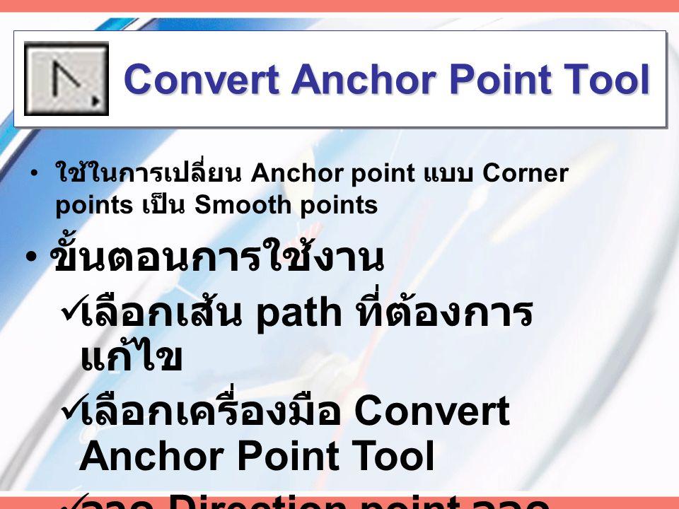 การเพิ่มหรือลบ Anchor Points Add Anchor Point Tool  Click ที่เส้น Delete Anchor Point Tool  Click ที่จุด