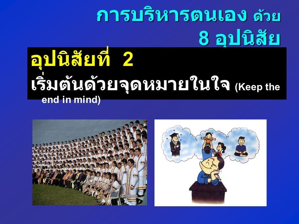 การบริหารตนเอง ด้วย 8 อุปนิสัย อุปนิสัยที่ 2 เริ่มต้นด้วยจุดหมายในใจ (Keep the end in mind)
