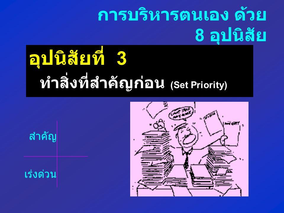 อุปนิสัยที่ 3 ทำสิ่งที่สำคัญก่อน (Set Priority) การบริหารตนเอง ด้วย 8 อุปนิสัย สำคัญ เร่งด่วน