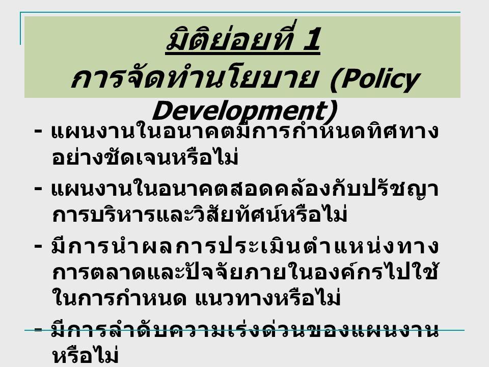 มิติย่อยที่ 1 การจัดทำนโยบาย (Policy Development) - แผนงานในอนาคตมีการกำหนดทิศทาง อย่างชัดเจนหรือไม่ - แผนงานในอนาคตสอดคล้องกับปรัชญา การบริหารและวิสัยทัศน์หรือไม่ - มีการนำผลการประเมินตำแหน่งทาง การตลาดและปัจจัยภายในองค์กรไปใช้ ในการกำหนด แนวทางหรือไม่ - มีการลำดับความเร่งด่วนของแผนงาน หรือไม่ - มีแผนงาน ที่ทำให้ก้าวหน้านำคู่แข่ง