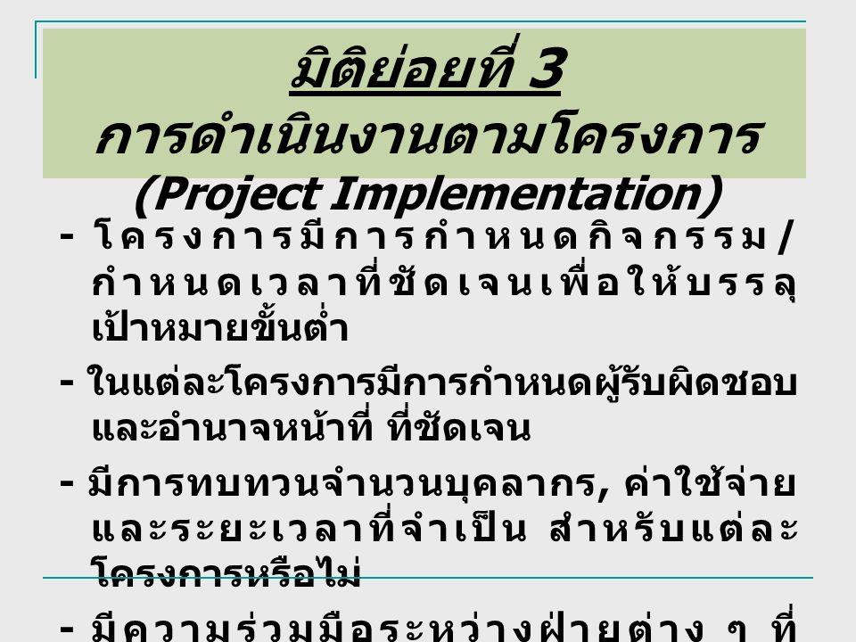 มิติย่อยที่ 3 การดำเนินงานตามโครงการ (Project Implementation) - โครงการมีการกำหนดกิจกรรม / กำหนดเวลาที่ชัดเจนเพื่อให้บรรลุ เป้าหมายขั้นต่ำ - ในแต่ละโครงการมีการกำหนดผู้รับผิดชอบ และอำนาจหน้าที่ ที่ชัดเจน - มีการทบทวนจำนวนบุคลากร, ค่าใช้จ่าย และระยะเวลาที่จำเป็น สำหรับแต่ละ โครงการหรือไม่ - มีความร่วมมือระหว่างฝ่ายต่าง ๆ ที่ เกี่ยวข้องในการดำเนินโครงการ