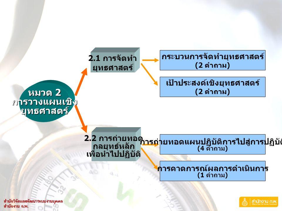 หมวด 2 การวางแผนเชิงยุทธศาสตร์ 2.1 การจัดทำ ยุทธศาสตร์ 2.2 การถ่ายทอด กลยุทธ์หลัก เพื่อนำไปปฏิบัติ กระบวนการจัดทำยุทธศาสตร์ (2 คำถาม ) เป้าประสงค์เชิง