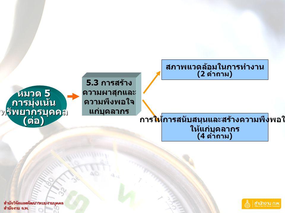 หมวด 5 การมุ่งเน้นทรัพยากรบุคคล ( ต่อ ) 5.3 การสร้าง ความผาสุกและ ความพึงพอใจ แก่บุคลากร สภาพแวดล้อมในการทำงาน (2 คำถาม ) การให้การสนับสนุนและสร้างควา