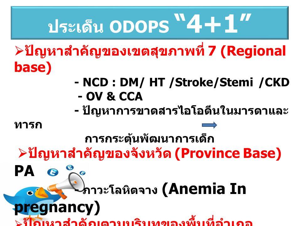  ปัญหาสำคัญของเขตสุขภาพที่ 7 (Regional base) - NCD : DM/ HT /Stroke/Stemi /CKD - OV & CCA - ปัญหาการขาดสารไอโอดีนในมารดาและ ทารก การกระตุ้นพัฒนาการเด็ก  ปัญหาสำคัญของจังหวัด (Province Base) PA - ภาวะโลหิตจาง (Anemia In pregnancy)  ปัญหาสำคัญตามบริบทของพื้นที่อำเภอ (District Base) ประเด็น ODOPS 4+1