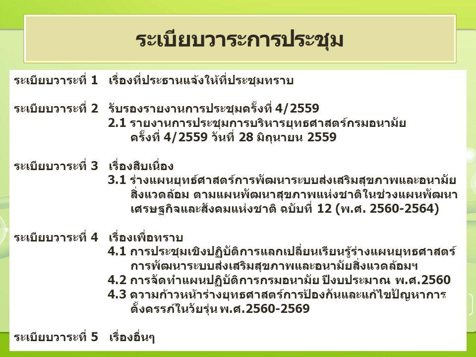 ระเบียบวาระที่ 1 เรื่องที่ประธานแจ้งให้ที่ประชุมทราบ ระเบียบวาระที่ 2 รับรองรายงานการประชุมครั้งที่ 4/2559 2.1 รายงานการประชุมการบริหารยุทธศาสตร์กรมอนามัย ครั้งที่ 4/2559 วันที่ 28 มิถุนายน 2559 ระเบียบวาระที่ 3 เรื่องสืบเนื่อง 3.1 ร่างแผนยุทธ์ศาสตร์การพัฒนาระบบส่งเสริมสุขภาพและอนามัย สิ่งแวดล้อม ตามแผนพัฒนาสุขภาพแห่งชาติในช่วงแผนพัฒนา เศรษฐกิจและสังคมแห่งชาติ ฉบับที่ 12 (พ.ศ.