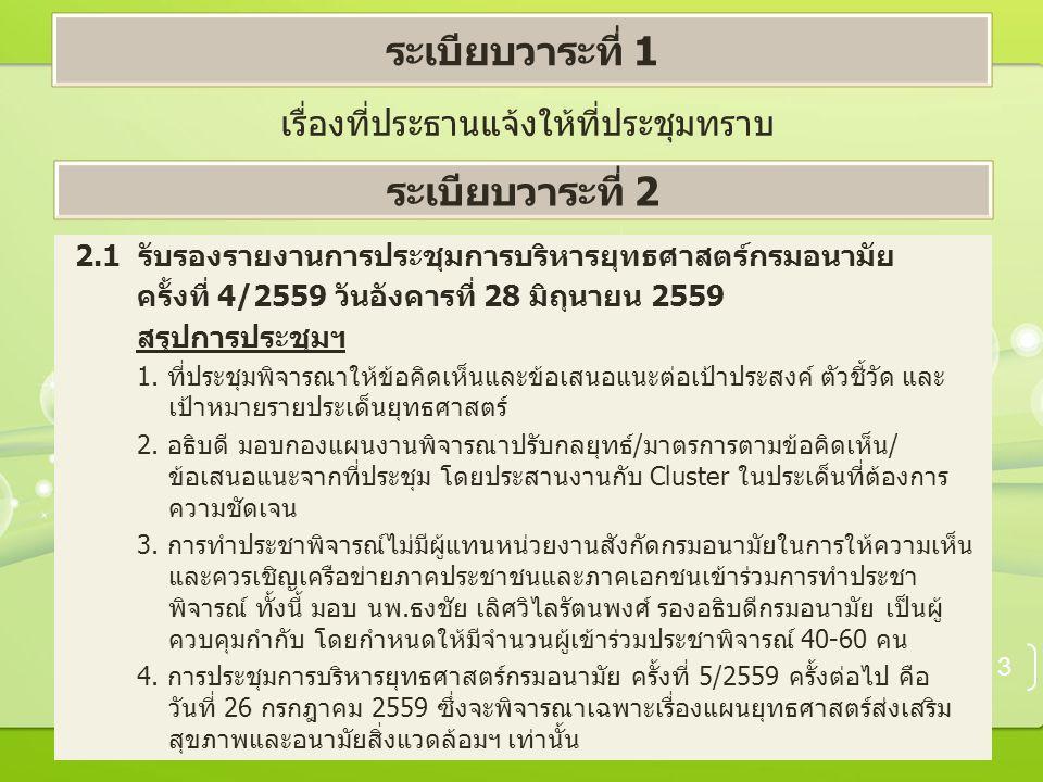 เรื่องที่ประธานแจ้งให้ที่ประชุมทราบ 3 ระเบียบวาระที่ 1 ระเบียบวาระที่ 2 2.1 รับรองรายงานการประชุมการบริหารยุทธศาสตร์กรมอนามัย ครั้งที่ 4/2559 วันอังคารที่ 28 มิถุนายน 2559 สรุปการประชุมฯ 1.