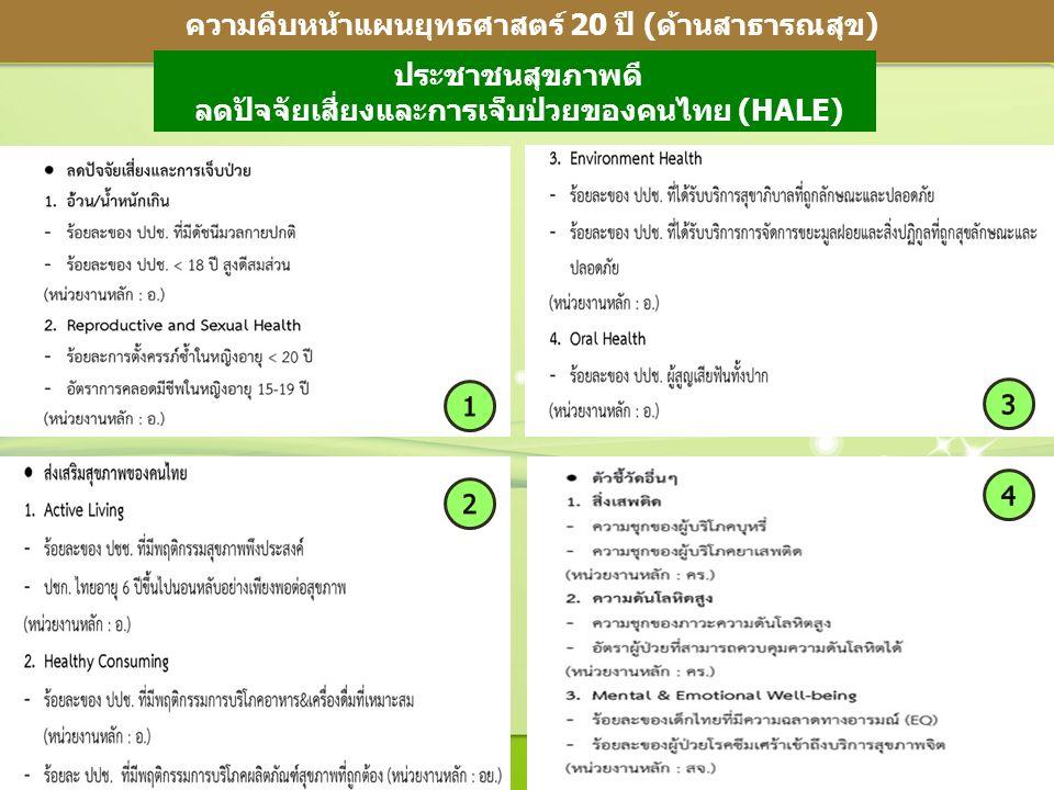 5 ความคืบหน้าแผนยุทธศาสตร์ 20 ปี (ด้านสาธารณสุข) ประชาชนสุขภาพดี ลดปัจจัยเสี่ยงและการเจ็บป่วยของคนไทย (HALE)