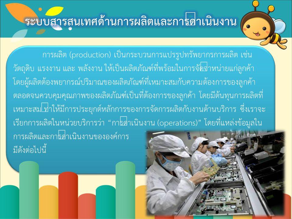 การผลิต (production) เป็นกระบวนการแปรรูปทรัพยากรการผลิต เช่น วัตถุดิบ แรงงาน และ พลังงาน ให้เป็นผลิตภัณฑ์ที่พร้อมในการจัดจำหน่ายแก่ลูกค้า โดยผู้ผลิตต้องพยากรณ์ปริมาณของผลิตภัณฑ์ที่เหมาะสมกับความต้องการของลูกค้า ตลอดจนควบคุมคุณภาพของผลิตภัณฑ์เป็นที่ต้องการของลูกค้า โดยมีต้นทุนการผลิตที่ เหมาะสม ทำให้มีการประยุกต์หลักการของการจัดการผลิตกับงานด้านบริการ ซึ่งเราจะ เรียกการผลิตในหน่วยบริการว่า การดำเนินงาน (operations) โดยที่แหล่งข้อมูลใน การผลิตและการดำเนินงานขององค์การ มีดังต่อไปนี้