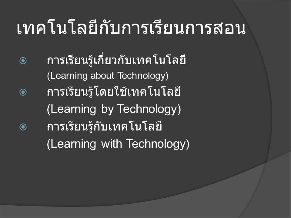 เทคโนโลยีกับการเรียนการสอน  การเรียนรู้เกี่ยวกับเทคโนโลยี (Learning about Technology)  การเรียนรู้โดยใช้เทคโนโลยี (Learning by Technology)  การเรียนรู้กับเทคโนโลยี (Learning with Technology)