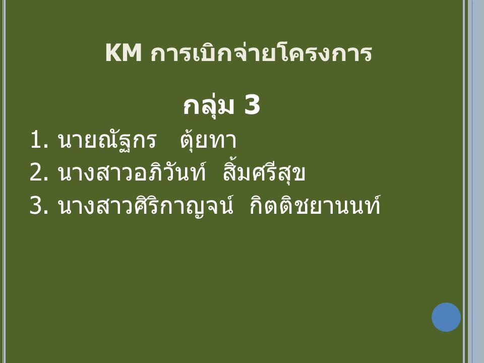 KM การเบิกจ่ายโครงการ กลุ่ม 3 1. นายณัฐกร ตุ้ยทา 2.
