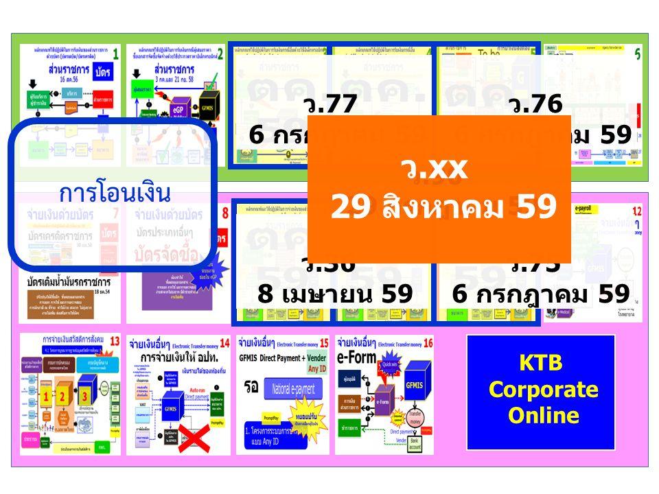KTB Corporate Online การโอนเงิน ว.75 6 กรกฎาคม 59 ว.36 8 เมษายน 59 ว.77 6 กรกฎาคม 59 ว.76 6 กรกฎาคม 59 ว.90 29 กรกฎาคม 59 ว.xx 29 สิงหาคม 59