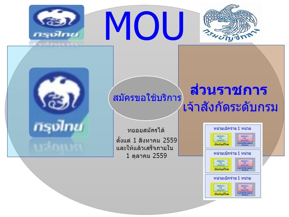 ส่วนราชการ เจ้าสังกัดระดับกรม สมัครขอใช้บริการ MOU ทยอยสมัครได้ ตั้งแต่ 1 สิงหาคม 2559 และให้แล้วเสร็จภายใน 1 ตุลาคม 2559