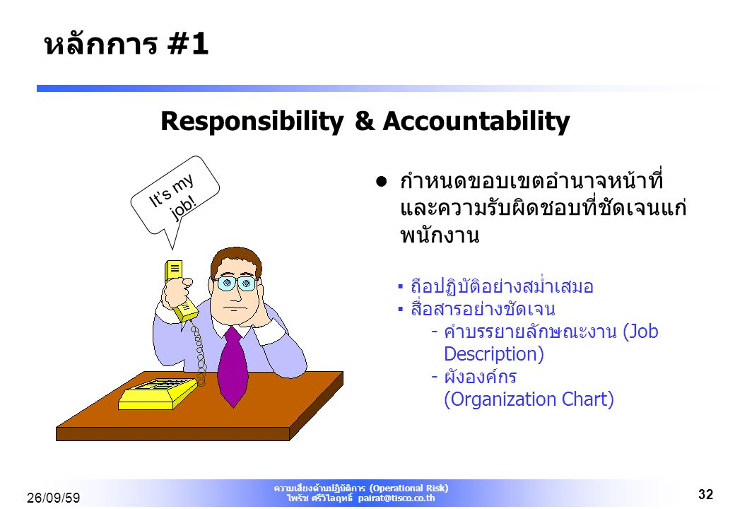 ความเสี่ยงด้านปฏิบัติการ (Operational Risk) ไพรัช ศรีวิไลฤทธิ์ pairat@tisco.co.th 26/09/59 32 Responsibility & Accountability กำหนดขอบเขตอำนาจหน้าที่ และความรับผิดชอบที่ชัดเจนแก่ พนักงาน ▪ถือปฏิบัติอย่างสม่ำเสมอ ▪สื่อสารอย่างชัดเจน -คำบรรยายลักษณะงาน (Job Description) -ผังองค์กร (Organization Chart) It's my job.