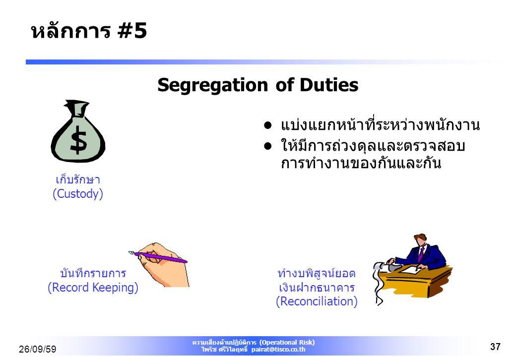 ความเสี่ยงด้านปฏิบัติการ (Operational Risk) ไพรัช ศรีวิไลฤทธิ์ pairat@tisco.co.th 26/09/59 37 Segregation of Duties แบ่งแยกหน้าที่ระหว่างพนักงาน ให้มีการถ่วงดุลและตรวจสอบ การทำงานของกันและกัน เก็บรักษา (Custody) บันทึกรายการ (Record Keeping) ทำงบพิสูจน์ยอด เงินฝากธนาคาร (Reconciliation) หลักการ #5