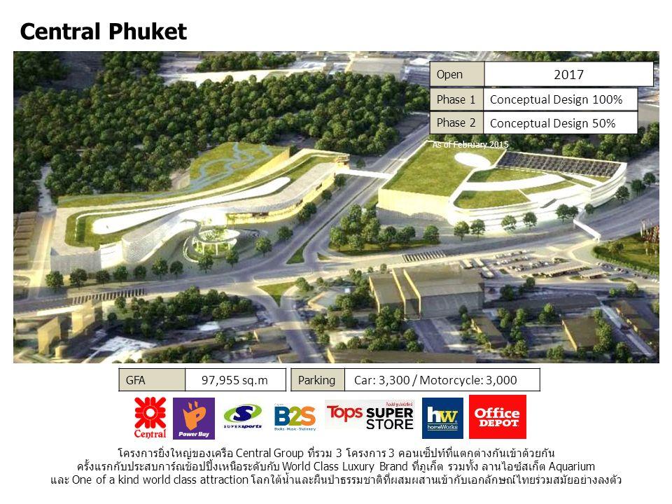 Central Phuket Parking Car: 3,300 / Motorcycle: 3,000 Open 2017 โครงการยิ่งใหญ่ของเครือ Central Group ที่รวม 3 โครงการ 3 คอนเซ็ปท์ที่แตกต่างกันเข้าด้วยกัน ครั้งแรกกับประสบการ์ณช้อปปิ้งเหนือระดับกับ World Class Luxury Brand ที่ภูเก็ต รวมทั้ง ลานไอซ์สเก็ต Aquarium และ One of a kind world class attraction โลกใต้น้ำและผืนป่าธรรมชาติที่ผสมผสานเข้ากับเอกลักษณ์ไทยร่วมสมัยอย่างลงตัว GFA 97,955 sq.m Phase 1 Conceptual Design 100% Phase 2 Conceptual Design 50% As of February 2015