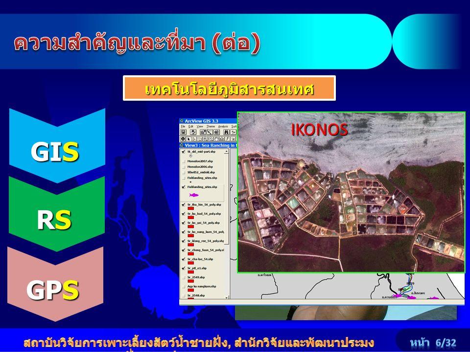เทคโนโลยีภูมิสารสนเทศเทคโนโลยีภูมิสารสนเทศ GIS RSRSRSRS GPS IKONOS