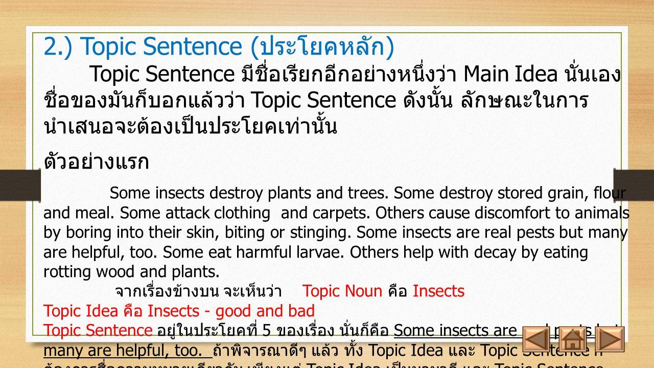 2.) Topic Sentence ( ประโยคหลัก ) Topic Sentence มีชื่อเรียกอีกอย่างหนึ่งว่า Main Idea นั่นเอง ชื่อของมันก็บอกแล้วว่า Topic Sentence ดังนั้น ลักษณะในการ นำเสนอจะต้องเป็นประโยคเท่านั้น ตัวอย่างแรก Some insects destroy plants and trees.