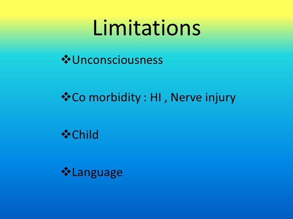 Limitations  Unconsciousness  Co morbidity : HI, Nerve injury  Child  Language