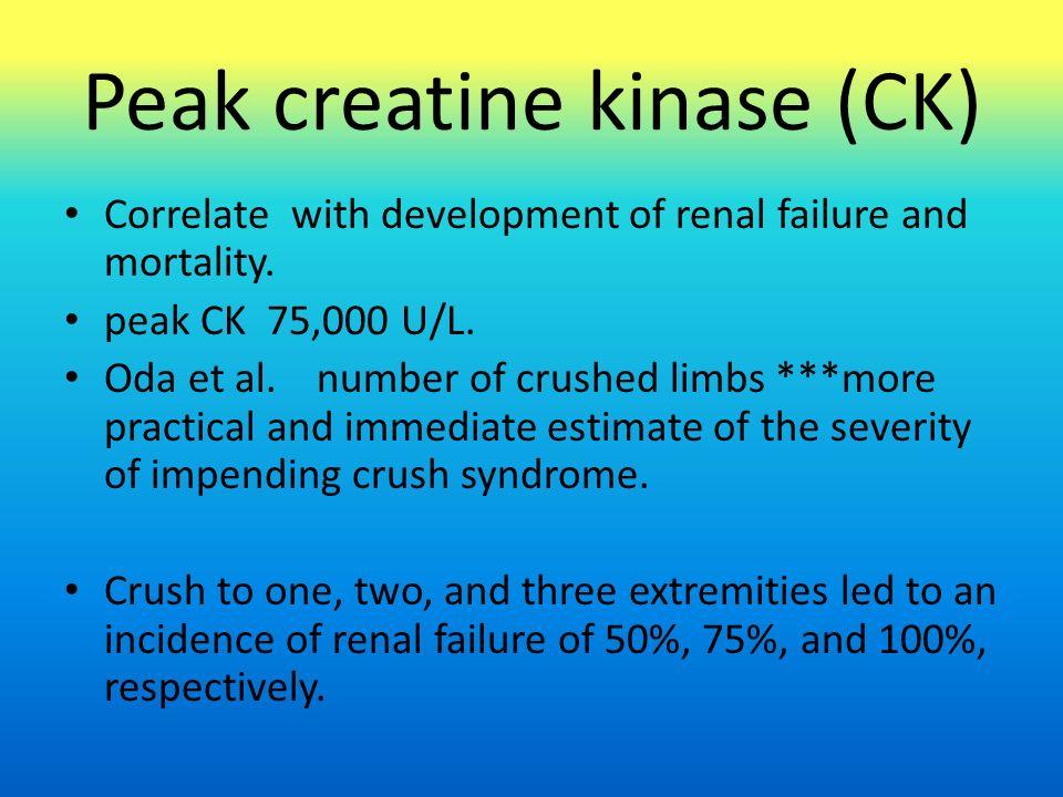 Peak creatine kinase (CK) Correlate with development of renal failure and mortality. peak CK 75,000 U/L. Oda et al. number of crushed limbs ***more pr
