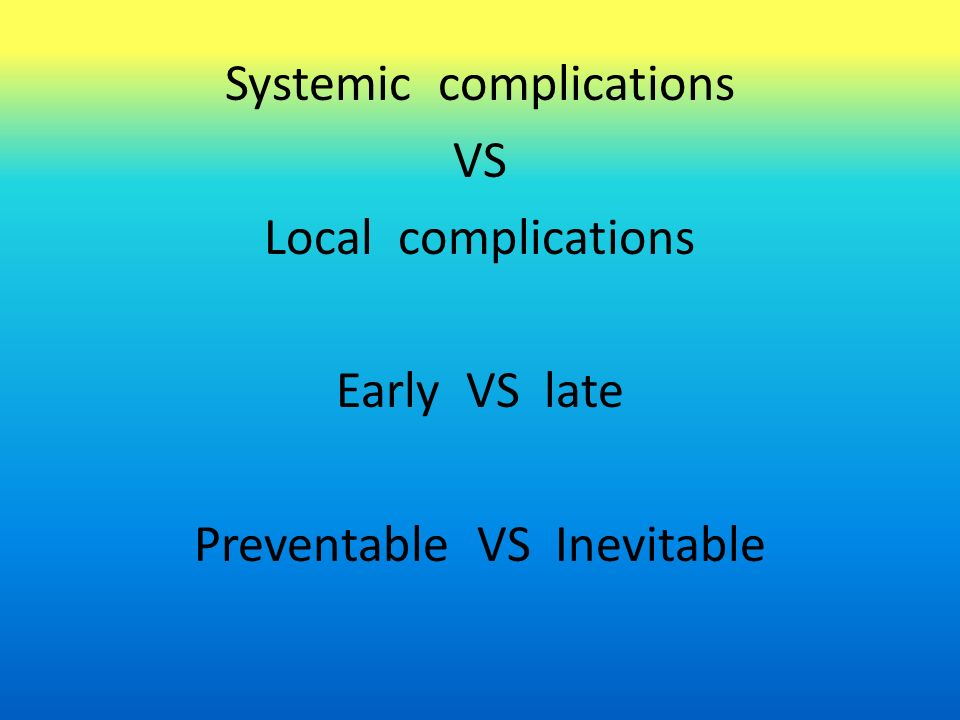 Systemic complications VS Local complications Early VS late Preventable VS Inevitable