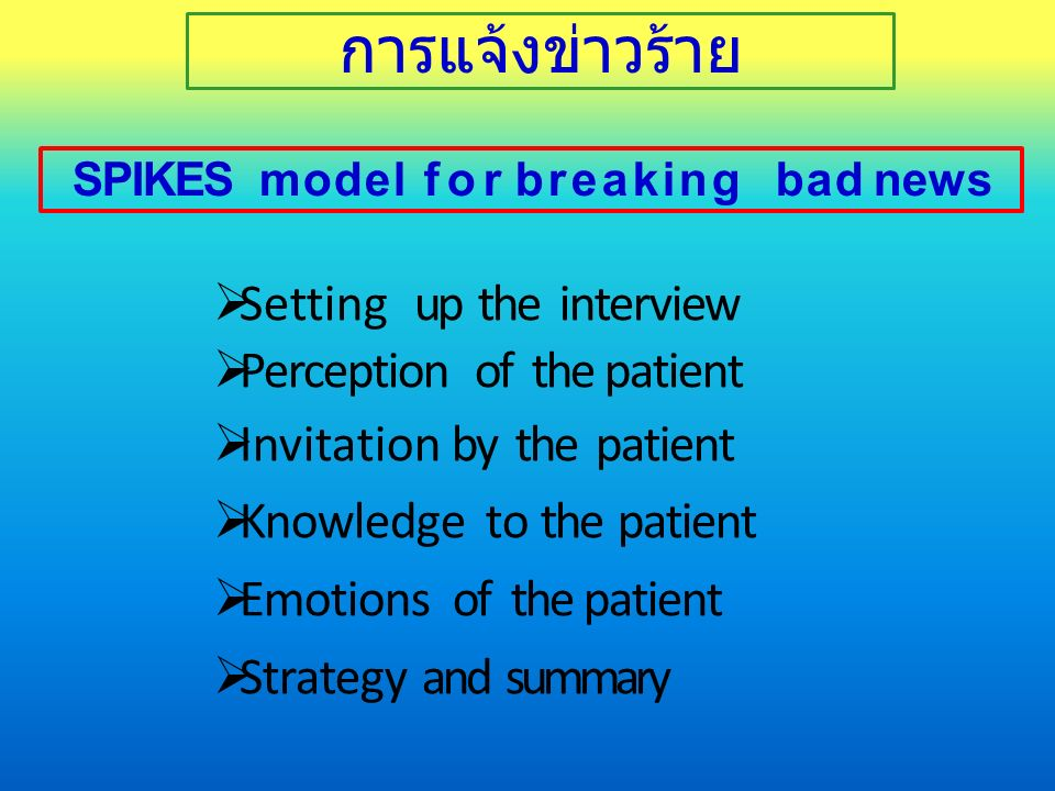 SPIKES model for breaking bad news  Setting up the interview  Perception of the patient  Invitation by the patient  Knowledge to the patient  Emotions of the patient  Strategy and summary การแจ้งข่าวร้าย