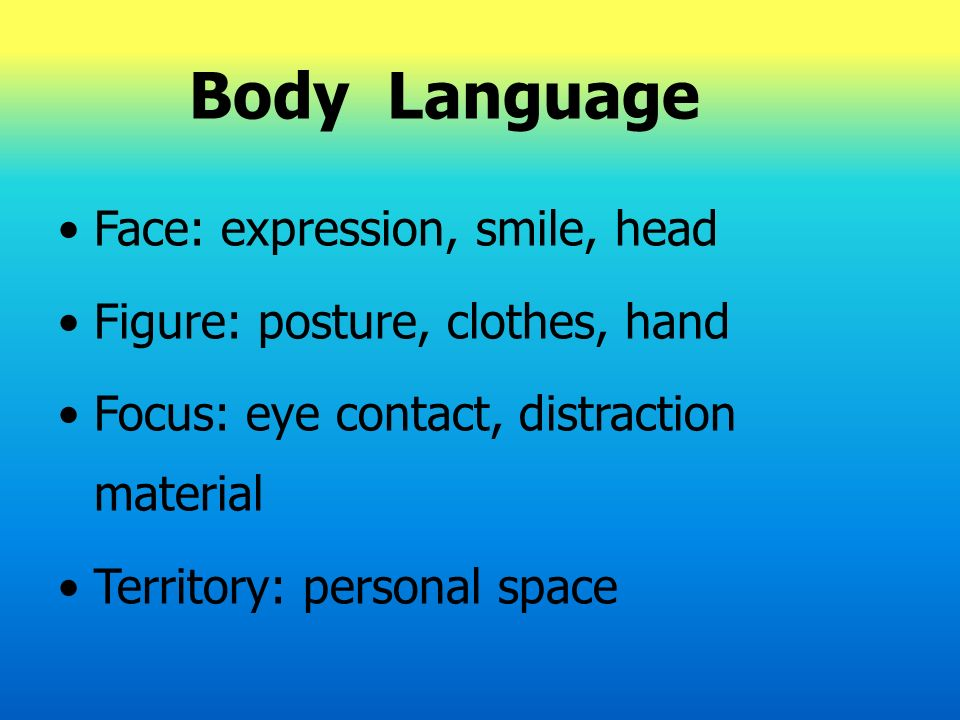 Body Language Face: expression, smile, head Figure: posture, clothes, hand Focus: eye contact, distraction material Territory: personal space