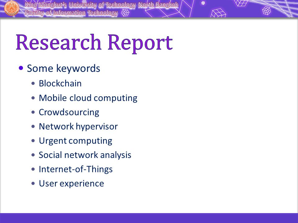 Some keywords Blockchain Mobile cloud computing Crowdsourcing Network hypervisor Urgent computing Social network analysis Internet-of-Things User expe