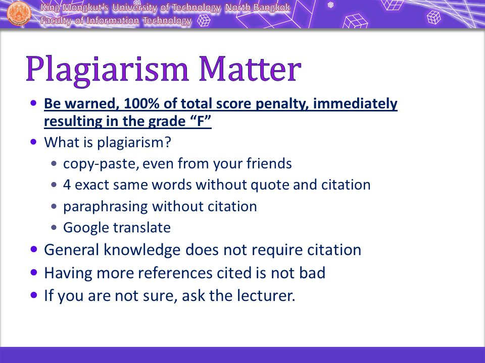 "Be warned, 100% of total score penalty, immediately resulting in the grade ""F"" What is plagiarism? copy-paste, even from your friends 4 exact same wor"