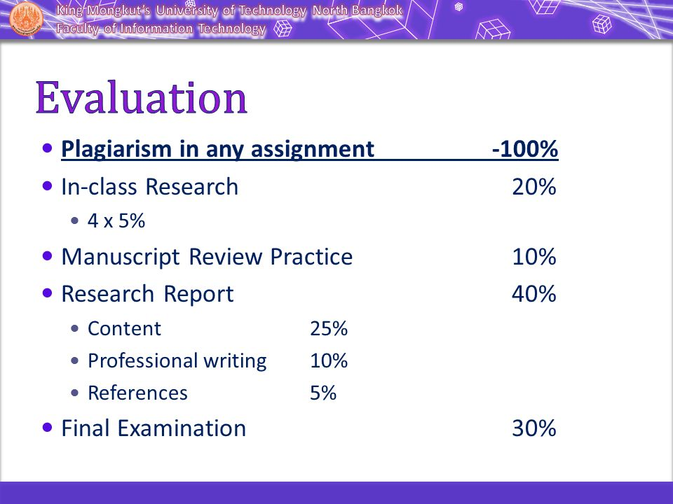 Plagiarism in any assignment -100% In-class Research 20% 4 x 5% Manuscript Review Practice10% Research Report40% Content25% Professional writing10% Re