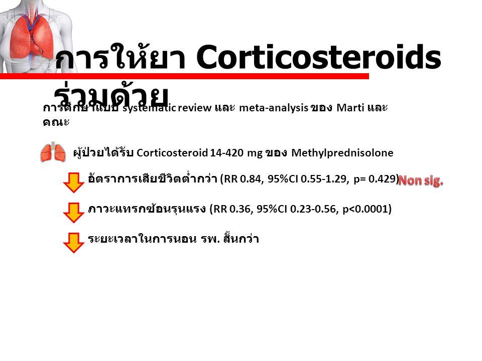 การให้ยา Corticosteroids ร่วมด้วย การศึกษาแบบ systematic review และ meta-analysis ของ Marti และ คณะ ผู้ป่วยได้รับ Corticosteroid 14-420 mg ของ Methylp