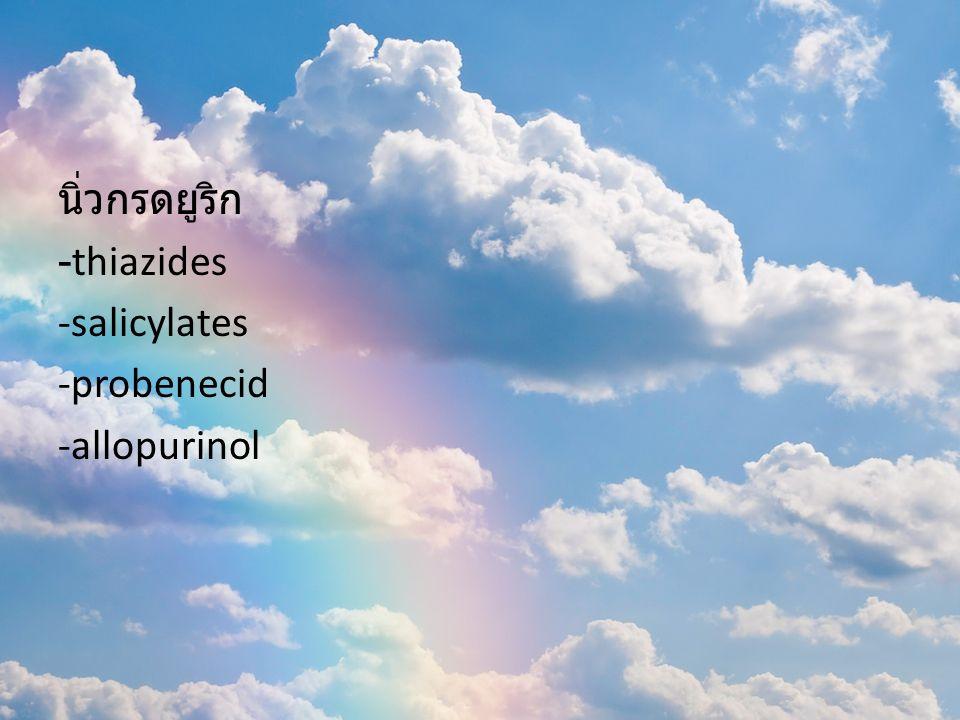 นิ่วกรดยูริก -thiazides -salicylates -probenecid -allopurinol