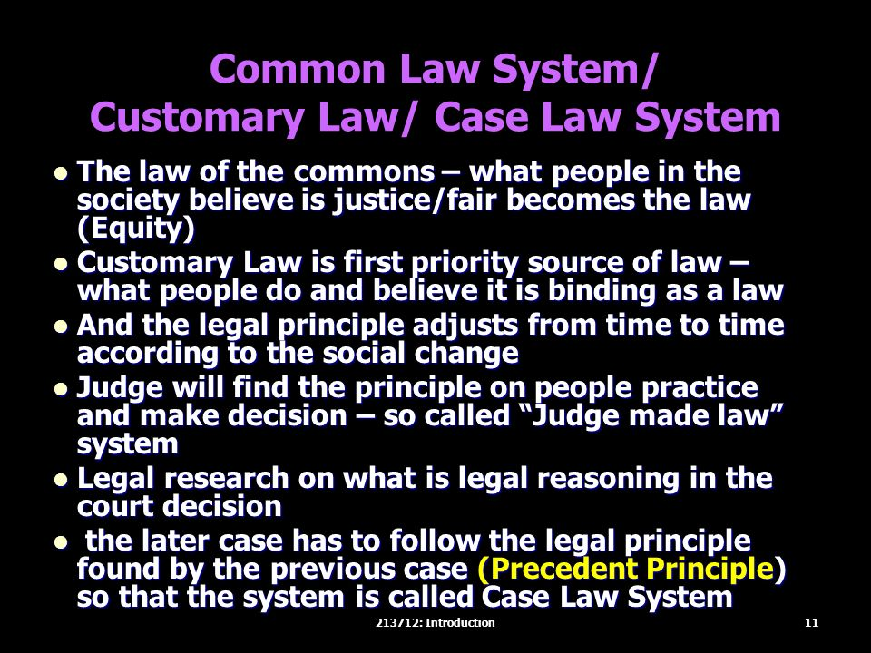 Common Law System/ Customary Law/ Case Law System The law of the commons – what people in the society believe is justice/fair becomes the law (Equity)