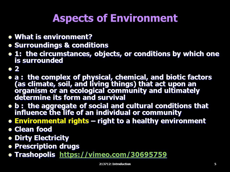 Aspects of Environment What is environment? What is environment? Surroundings & conditions Surroundings & conditions 1: the circumstances, objects, or