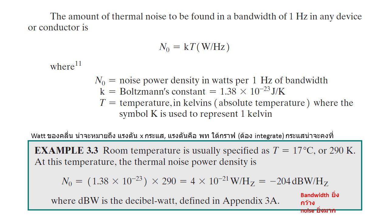Bandwidth ยิ่ง กว้าง noise ยิ่งมาก Watt ของคลื่น น่าจะหมายถึง แรงดัน x กระแส, แรงดันคือ พท ใต้กราฟ ( ต้อง integrate) กระแสน่าจะคงที่
