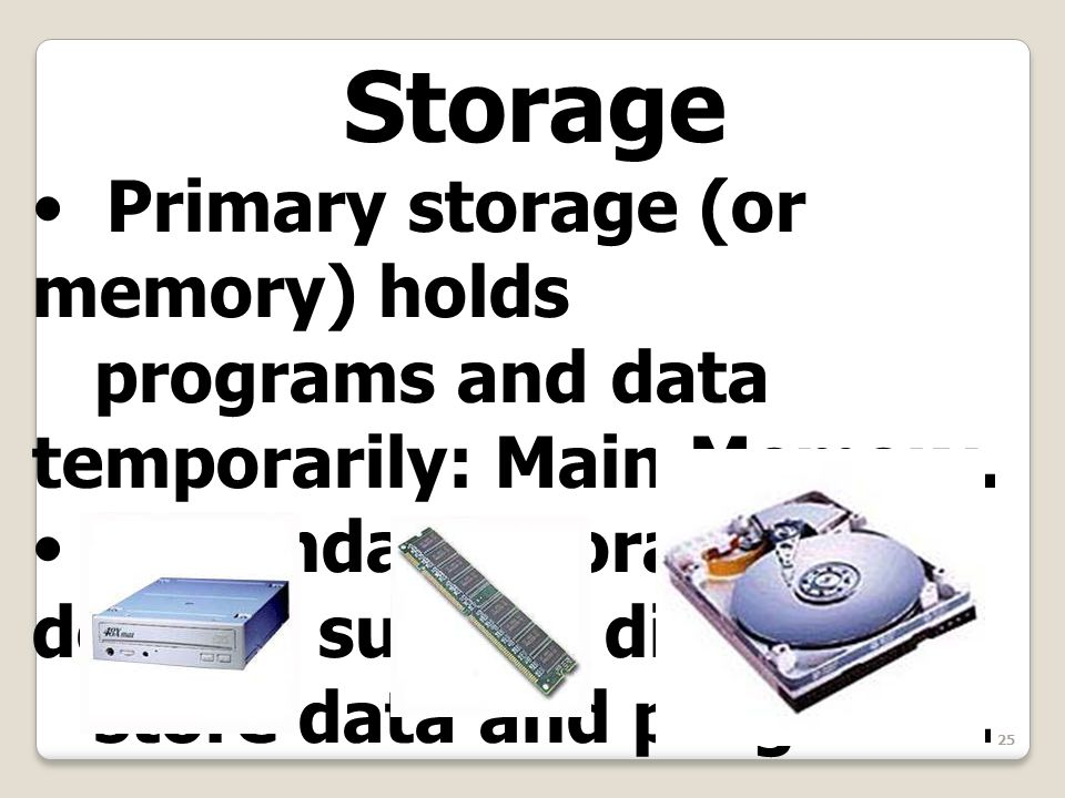25 Storage Primary storage (or memory) holds programs and data temporarily: Main Memory.