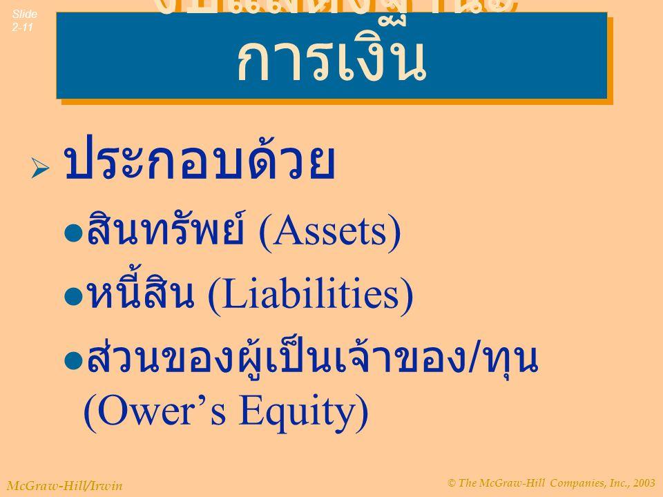 © The McGraw-Hill Companies, Inc., 2003 McGraw-Hill/Irwin Slide 2-11 งบแสดงฐานะ การเงิน  ประกอบด้วย สินทรัพย์ (Assets) หนี้สิน (Liabilities) ส่วนของผู้เป็นเจ้าของ / ทุน (Ower's Equity)