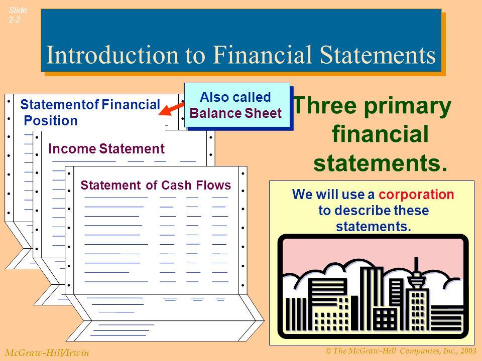 © The McGraw-Hill Companies, Inc., 2003 McGraw-Hill/Irwin Slide 2-23 งบกระแสเงินสด  กระแสเงินสดจากกิจกรรม ดำเนินงาน  กระแสเงินสดจากกิจกรรม ลงทุน  กระแสเงินสดจากกิจกรรม จัดหาเงิน