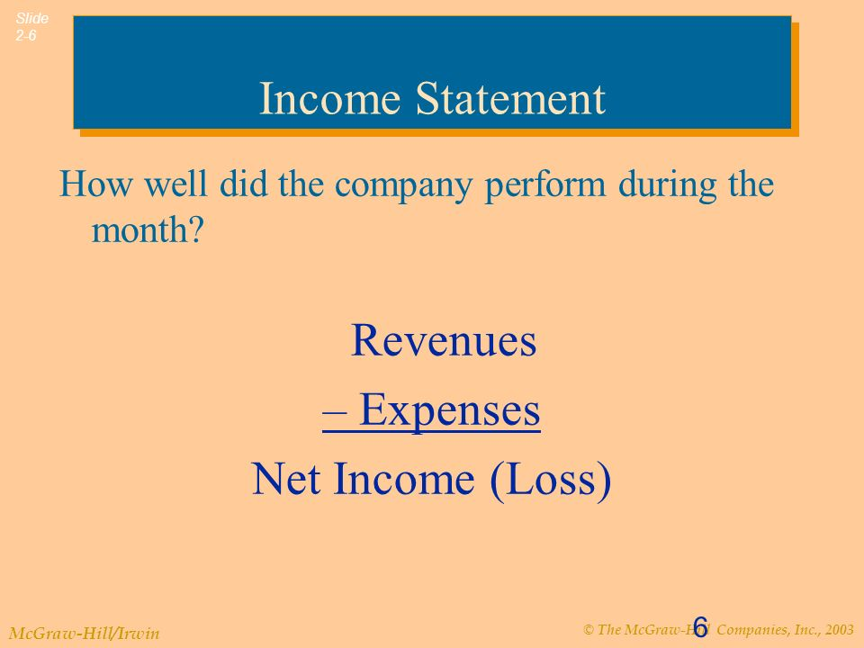 © The McGraw-Hill Companies, Inc., 2003 McGraw-Hill/Irwin Slide 2-6 6 Income Statement How well did the company perform during the month.